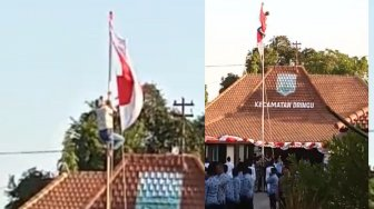 Aksi Siswa Probolinggo Panjat Tiang Betulkan Bendera yang Tersangkut Viral