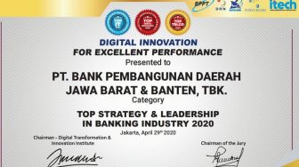 Bank BJB Raih Penghargaan Top Digital Innovation Award 2020