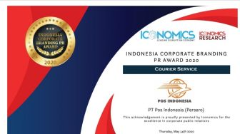 Pos Indonesia Raih Penghargaan Indonesia Corporate Branding PR Award 2020