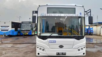Uji Coba Bus Listrik EV1 Transjakarta, Tekankan Protokol COVID-19