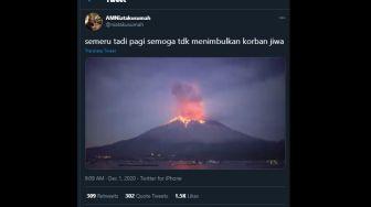 Beredar Video Letusan Gunung Semeru Keluarkan Lava Pijar, Ini Faktanya