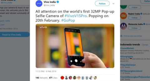 Potongan video promosi Vivo V15 Pro di akun Twitter Vivo India. [Twitter/Vivo_India]