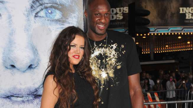 "Khloe Kardashian & LA Lakers star Lamar Odom at the Los Angeles premiere of ""Whiteout"" at Mann Village Theatre, Westwood. September 9, 2009 Los Angeles, CA Picture: Paul Smith / Featureflash"