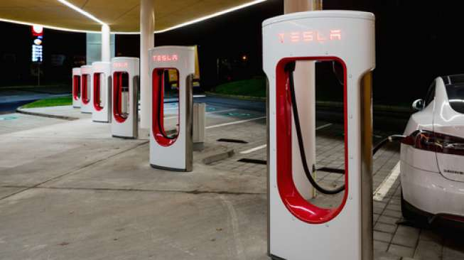 Humpolec, CZECH REPUBLIC - OCTOBER , 2016: Tesla charging stations are located throughout EU to accommodate owners of the electric car.