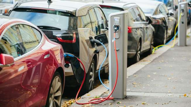 A number of electric car-mid recharge the battery. [Shutterstock]
