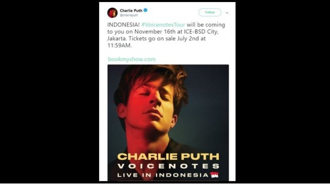Charlie Puth live in Jakarta (@charlieputh/twitter).