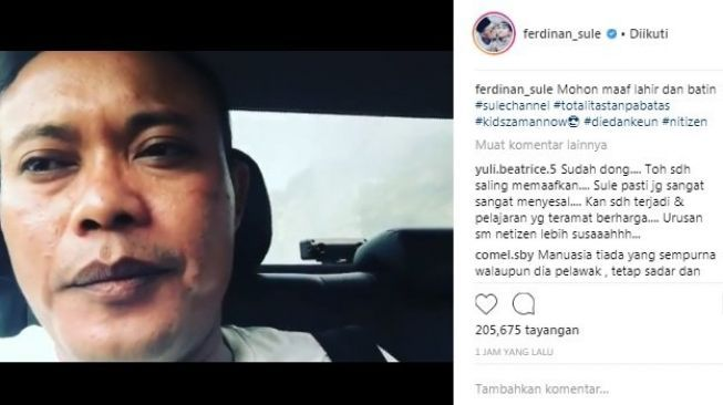 Capture video Sule minta maaf soal jokes ngidam ke Sandy Aulia. [Instagram]