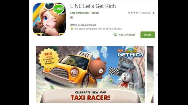 Permainan LINE, LINE Let's Get Rich. [Google Play Store]