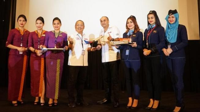 Acara perkenalan SJ In-flight Entertainment oleh Sriwijaya Air. (dokumentasi Sriwijaya Air)