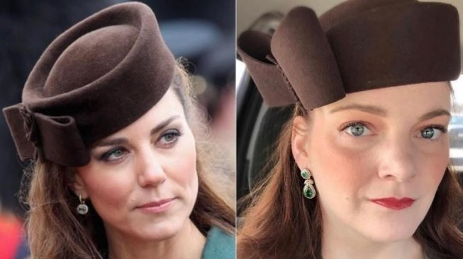 Julia James meniru gaya fesyen Kate Middleton. (Instagram/@jules_the_duchessofbudget)