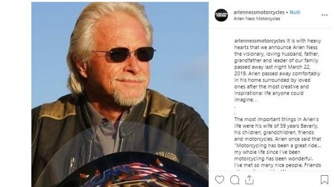 Arlen Ness, The King of Custom Motorcycles [Instagram: @arlennessmotorcycles].