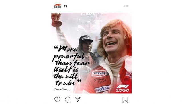 James Hunt's inspiring words [Instagram: Formula1].
