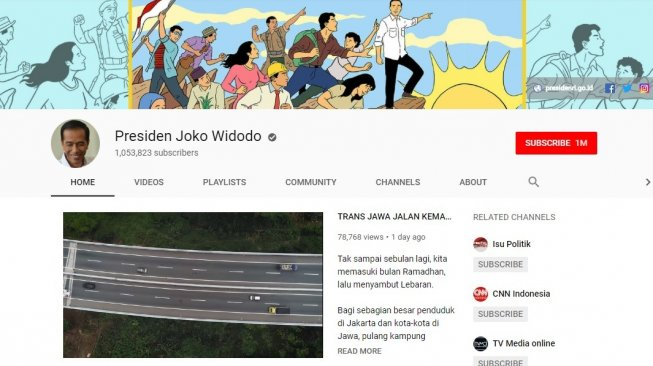 Channel YouTube Jokowi. [YouTube]