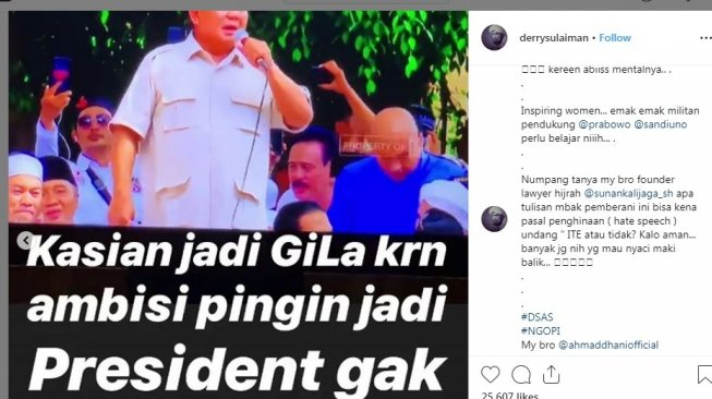Ustaz Derry Sulaiman unggah ulang status Instagram Stories istri Andre Taulany, Rien Wartia Trigina [Instagram]
