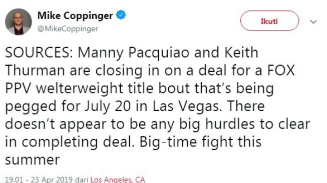 Cuitan Mike Coppinger terkait wacana duel Manny Pacquiao vs Keith Thurman. [Twitter@MikeCoppinger]
