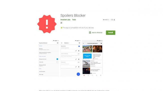 Spoiler Protection 2.0. [Google Play Store]