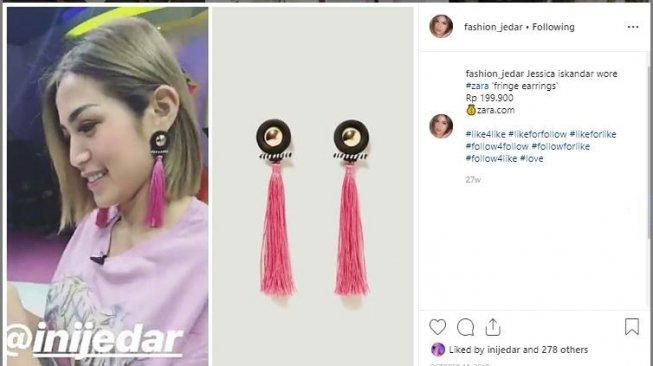 Anting Jessica Iskandar. (Instagram/@fashion_jedar)
