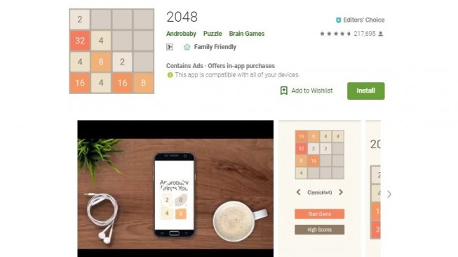 Game offline, 2048. [Google Play Store]