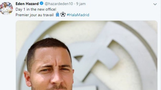 Pemain anyar Real Madrid, Eden Hazard. [@hazardeden / Twitter]