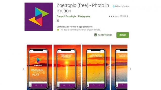 Video editing application, Zoetropic.  [Google Play Store]