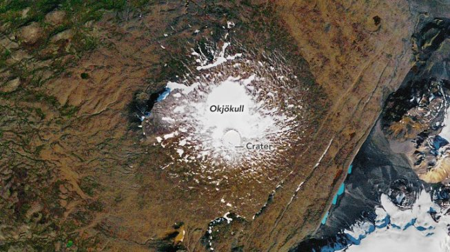 Gletser Okjokull 14 September 1986 (NASA Earth Observatory)