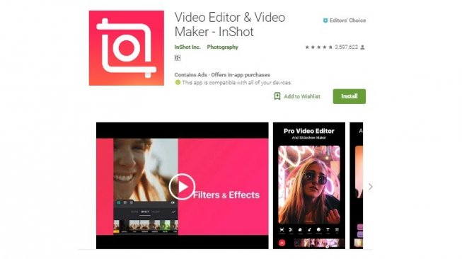 Aplikasi edit foto Android, InShot. [Google Play Store]