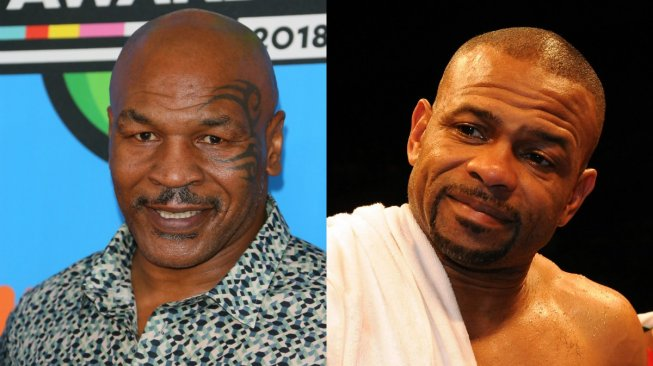 Foto kolase Mike Tyson dan Roy Jones Jr. [AFP/Jean-Baptiste Lacroix/Torsten Blackwood]
