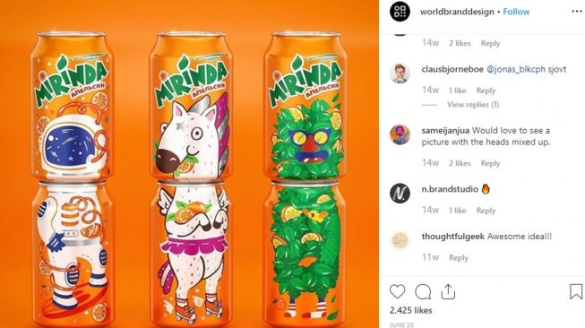 Mirinda. (Instagram: @worldbranddesign)