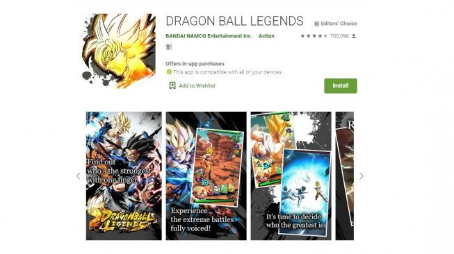 Game anime Android, Dragon Ball Legends. [Google Play Store]