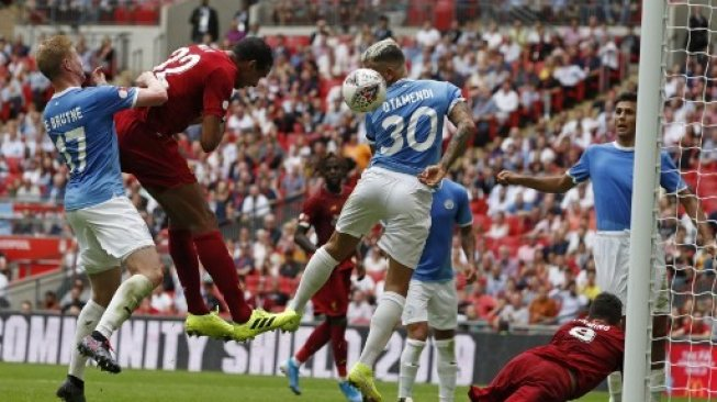 Pertandingan Liverpool vs Manchester City di ajang Community Shield. (ADRIAN DENNIS / AFP)