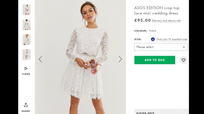 ASOS EDITION lace crop top mini wedding dress. (ASOS.com)