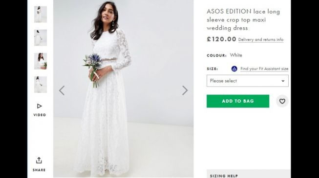 ASOS EDITION lace crop top wedding dress. (ASOS.com)