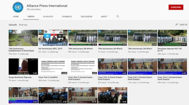 Kanal YouTube bernama Alliance Press International unggah video Sunda Empire (YouTube)