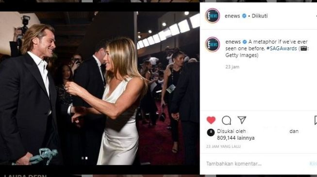 Brad Pitt dan Jennifer Aniston di SAG Awards 2020. (Instagram/@enews)