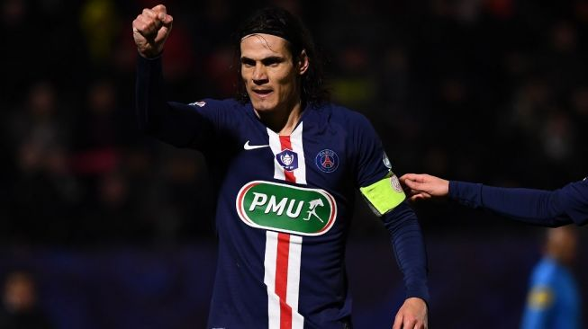 Penyerang Paris Saint-Germain, Edinson Cavani. [Anne-Christine POUJOULAT / AFP]
