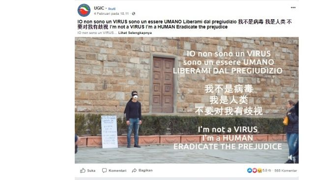 Video Pemuda Cina di Italia melawan sentimen rasis Virus Corona (Screenshot FB: UGIC)