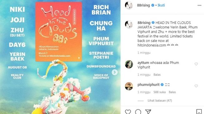 Line up konser Head In The Clouds Music and Arts Festival di Jakarta [Instagram/@88rising]