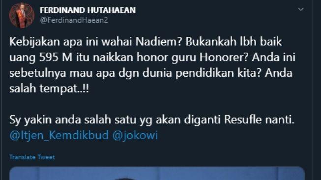 Ferdinand Hutahaean kritik kebijakan Nadiem Makariem. (Twitter/@FerdinandHaean2)