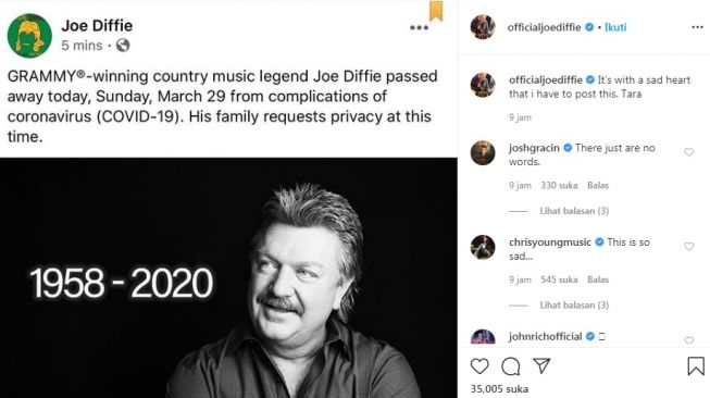 Unggahan Joe Diffie [Instagram/@officialjoediffie]
