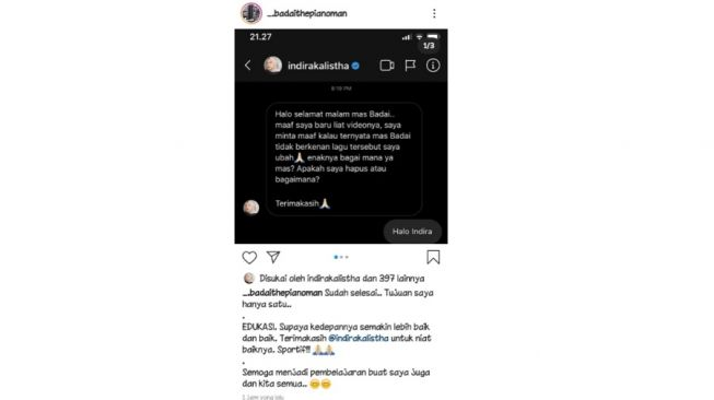 Postingan permintaan maaf Indira Kalistha. [Instagram]