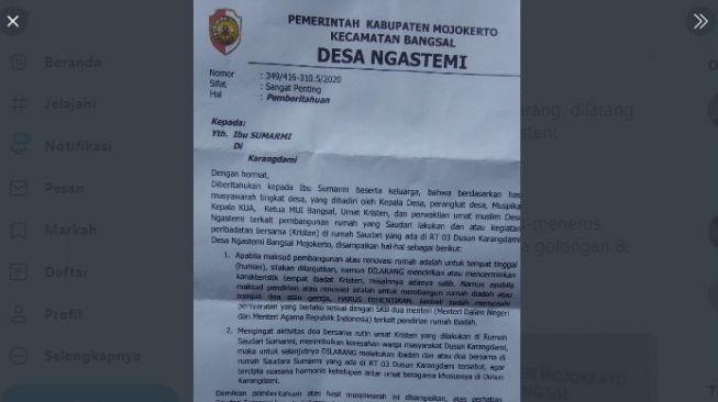 Viral, Kades Ngastemi Mojokerto Larang Warga Kristen Ibadah di Wilayahnya