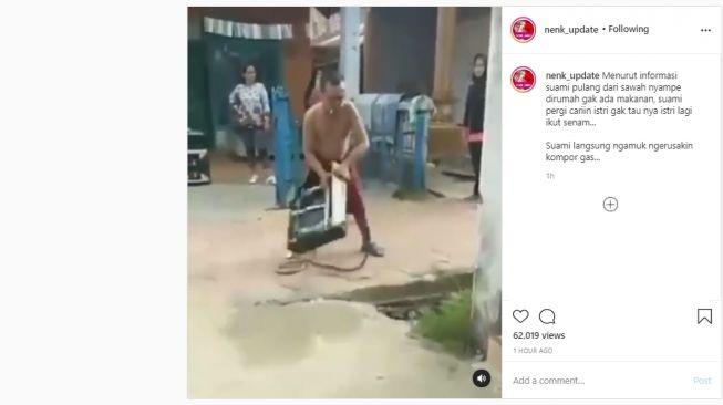 Video Suami Ngamuk Banting Kompor Gas karena Istri Tak Masak Malah Senam