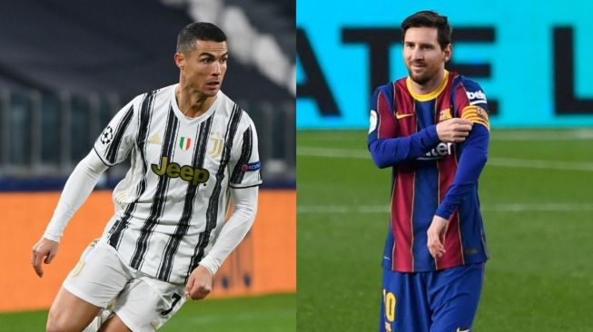 A collage of Lionel Messi and Cristiano Ronaldo (left). [AFP]