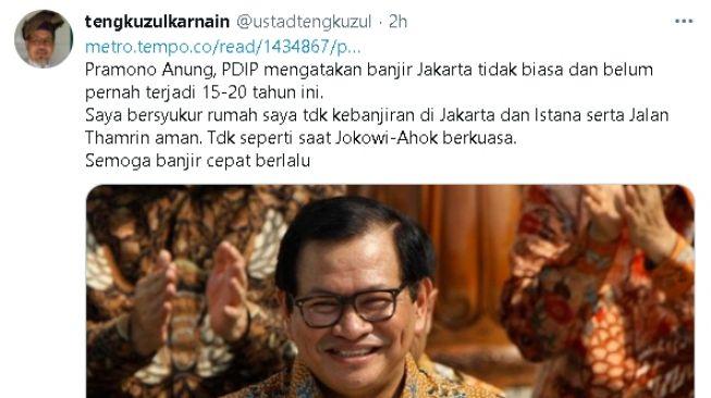Tengku Zul tanggapi pernyataan Pramono Anung soal banjir Jakarta (twitter)