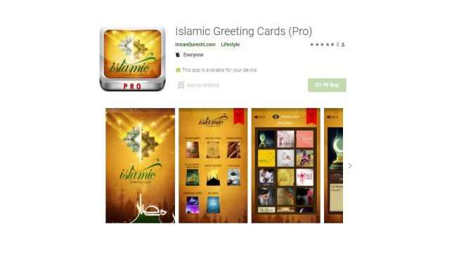 Islam Greeting Cards. [Google Play Store]