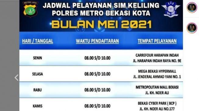 Jadwal dan lokasi SIM Keliling Kota Bekasi Mei 2021.[Instagram/restrobekasikota_official]
