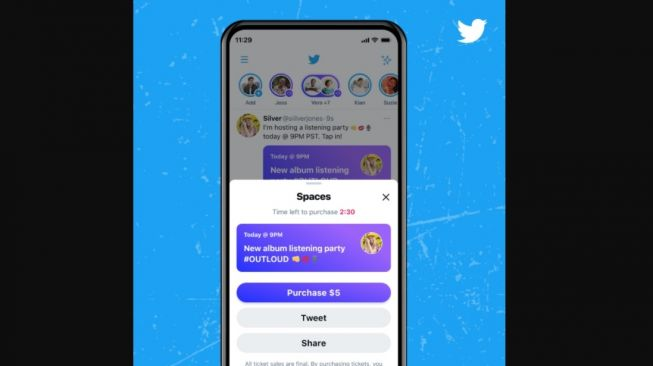 Fitur baru Twitter, Ticketed Spaces. [Twitter]