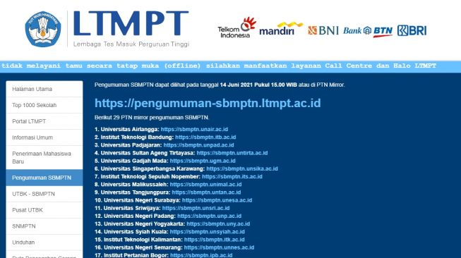 Cek pengumuman-sbmptn.ltmpt.ac.id untuk Lihat Pengumuman Hasil SBMPTN 2021