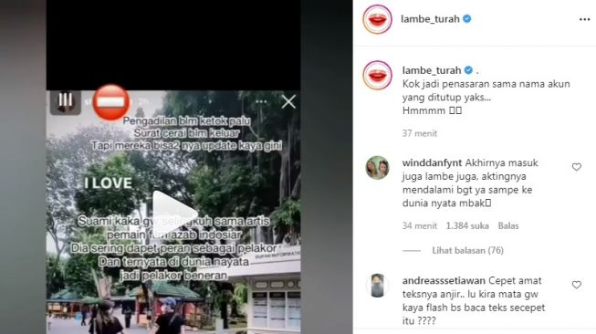 Doomsday soap opera artist suspected of being the actor [Instagram/@lambe_turah]