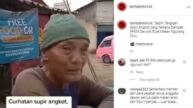 Viral Sopir Angkot Menangis Pilu Kena Efek PPKM Darurat. (Instagram/@beritaterkini.id_)